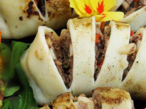 Vietnamesische Gefüllte Tintenfischtuben Nahaufnahme