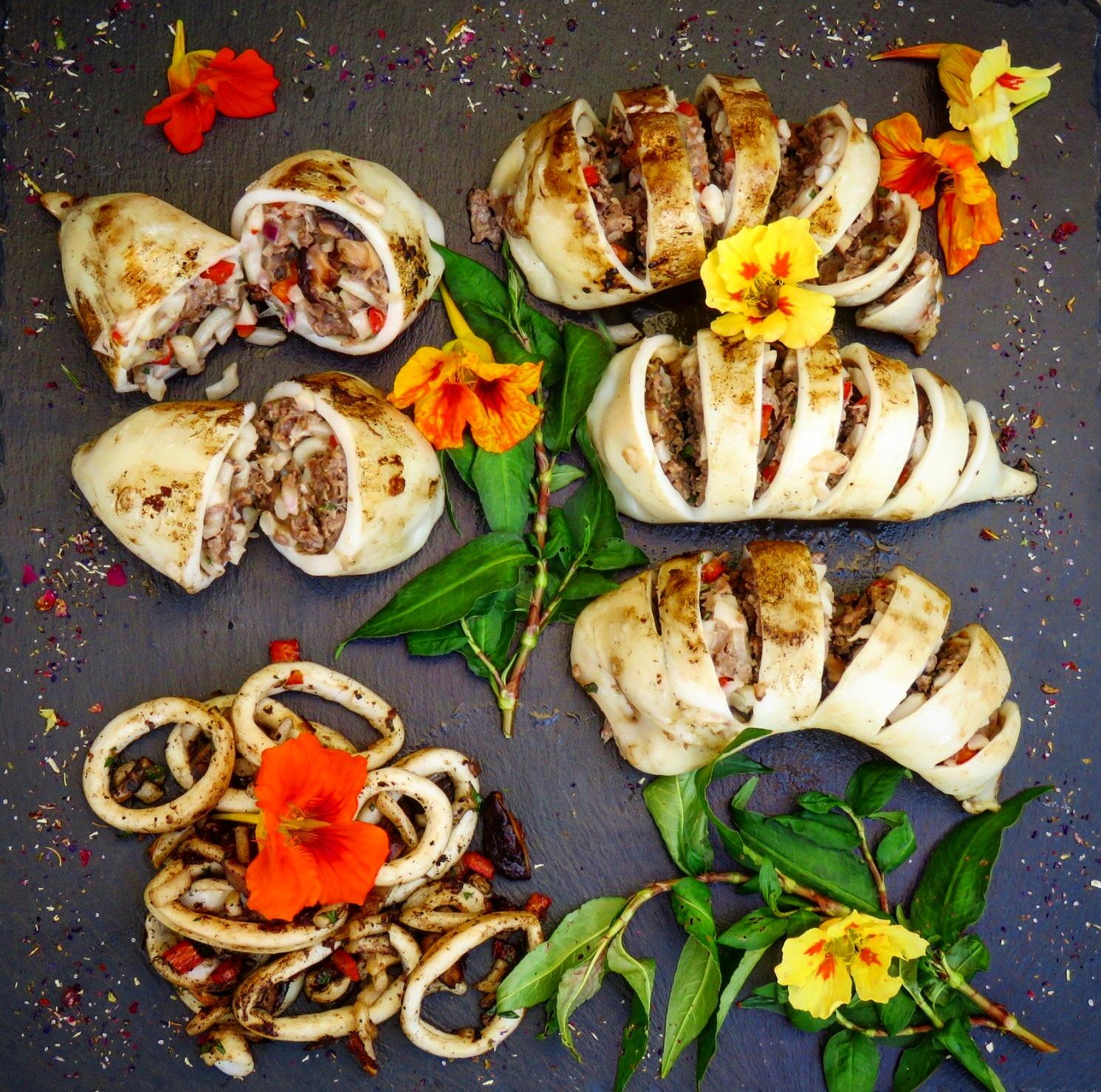 Vietnamesische gefüllte Tintenfische Muc Nhoi Thit Asia Streetfood