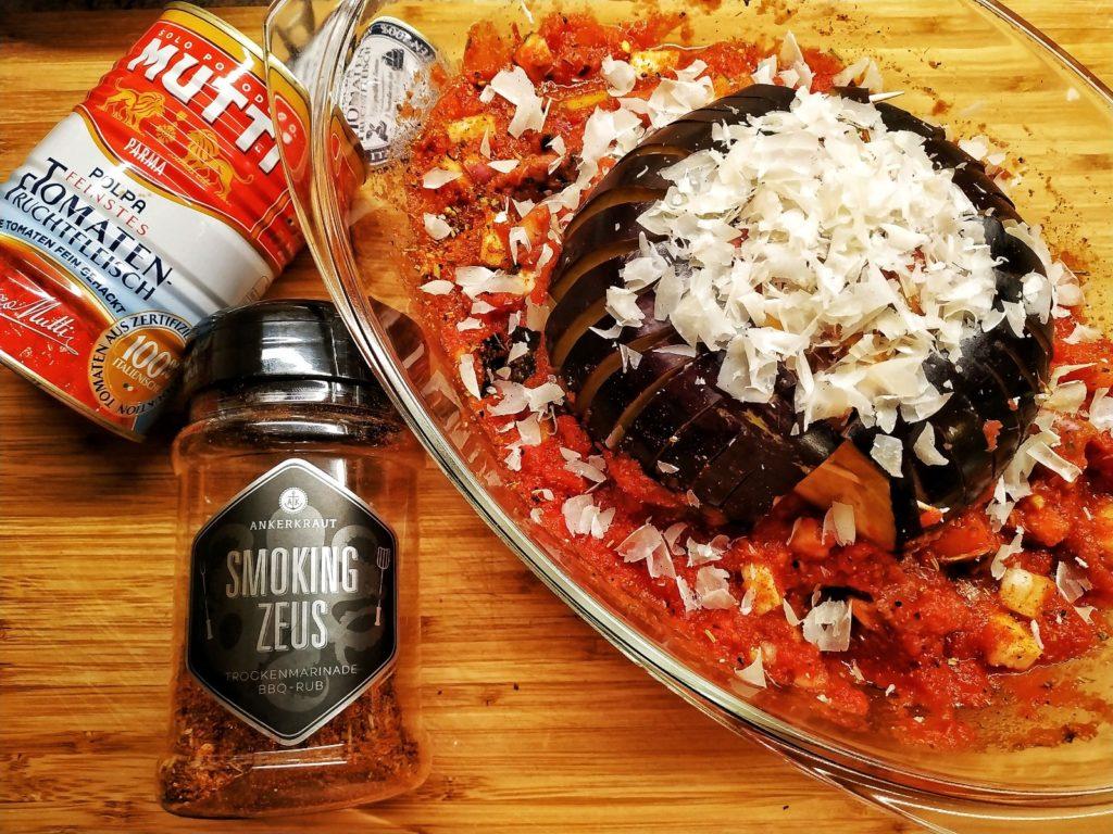 gefüllte Auberginen mit Tomaten und Ankerkraut Smoking Zeus