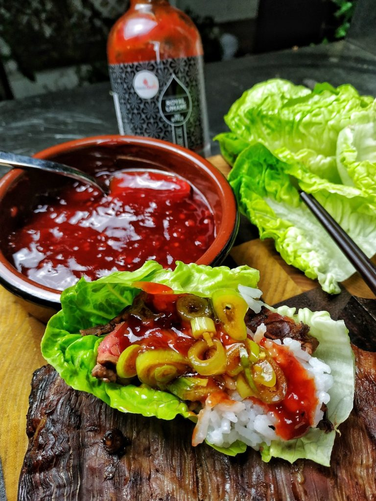 Flank Steak Fingerfood koreanisch - Ssam