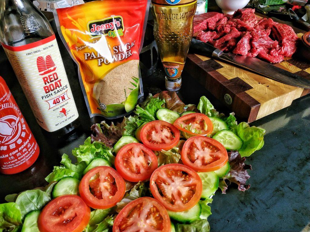 Zutaten für Beef Lok Lak