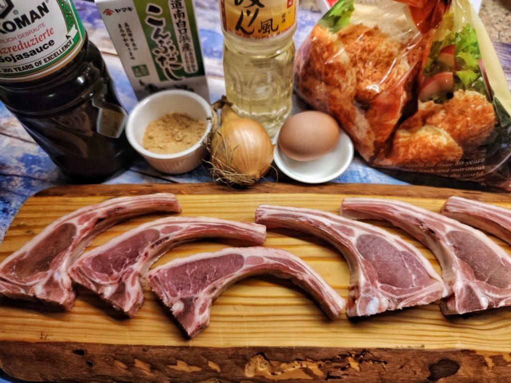 Zutaten für Lammkotelett Tonkatsu Katsudon