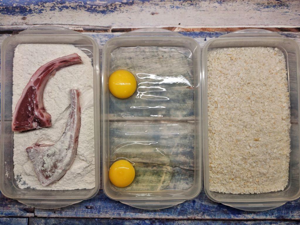 Lammkotelett panieren für Tonkatsu