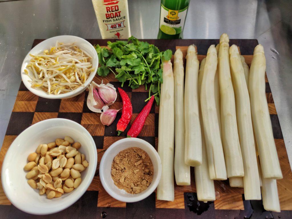 Zutaten für Thailändischen Spargelsalat