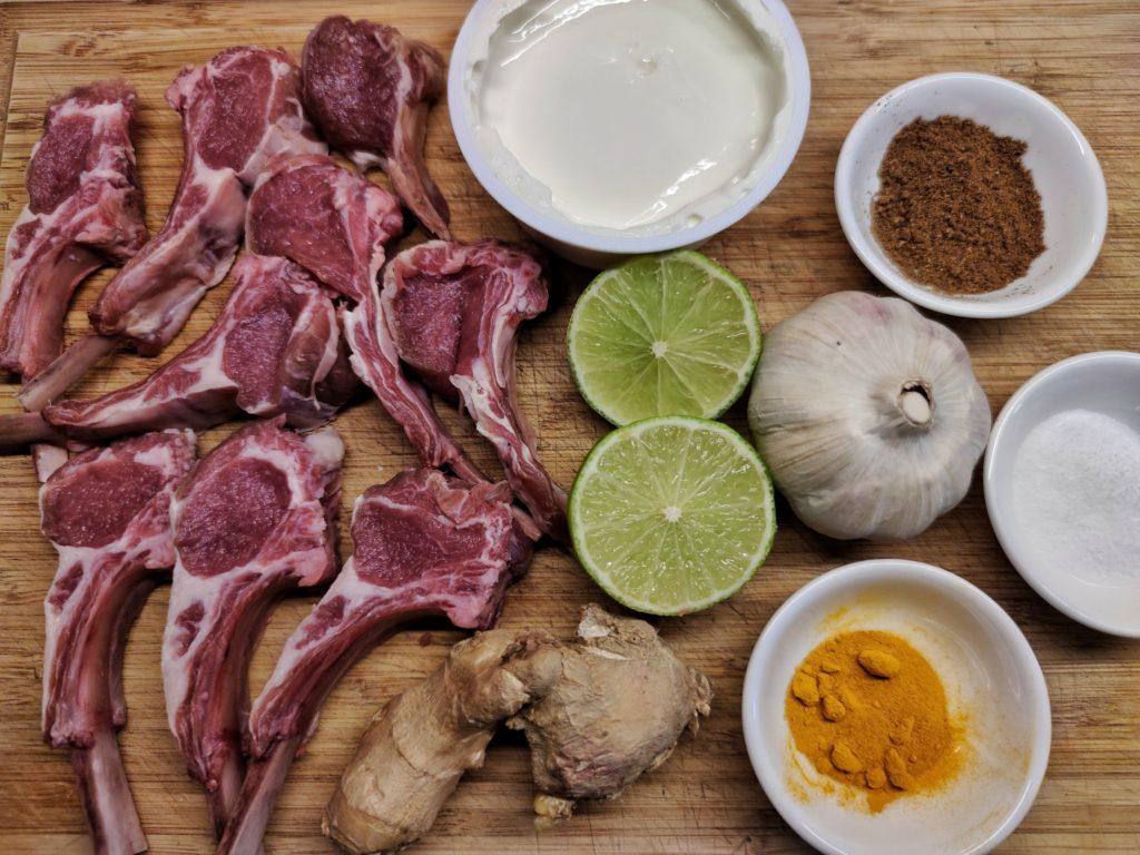 Zutaten für indische Lamm Lollies Lammkoteletts
