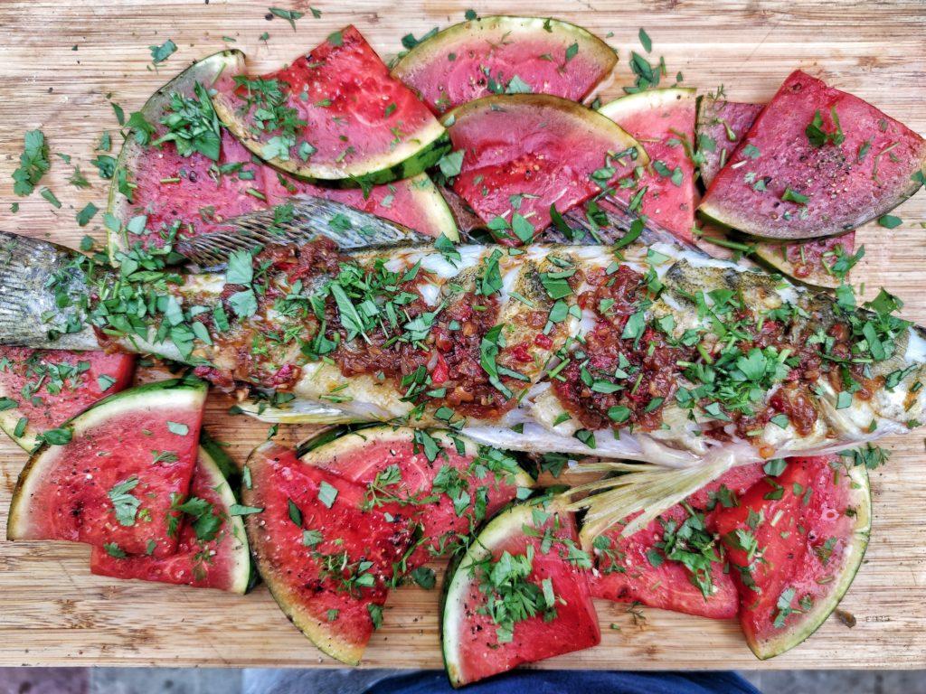 Zander Thai Style mit gegrillter Wassermelone