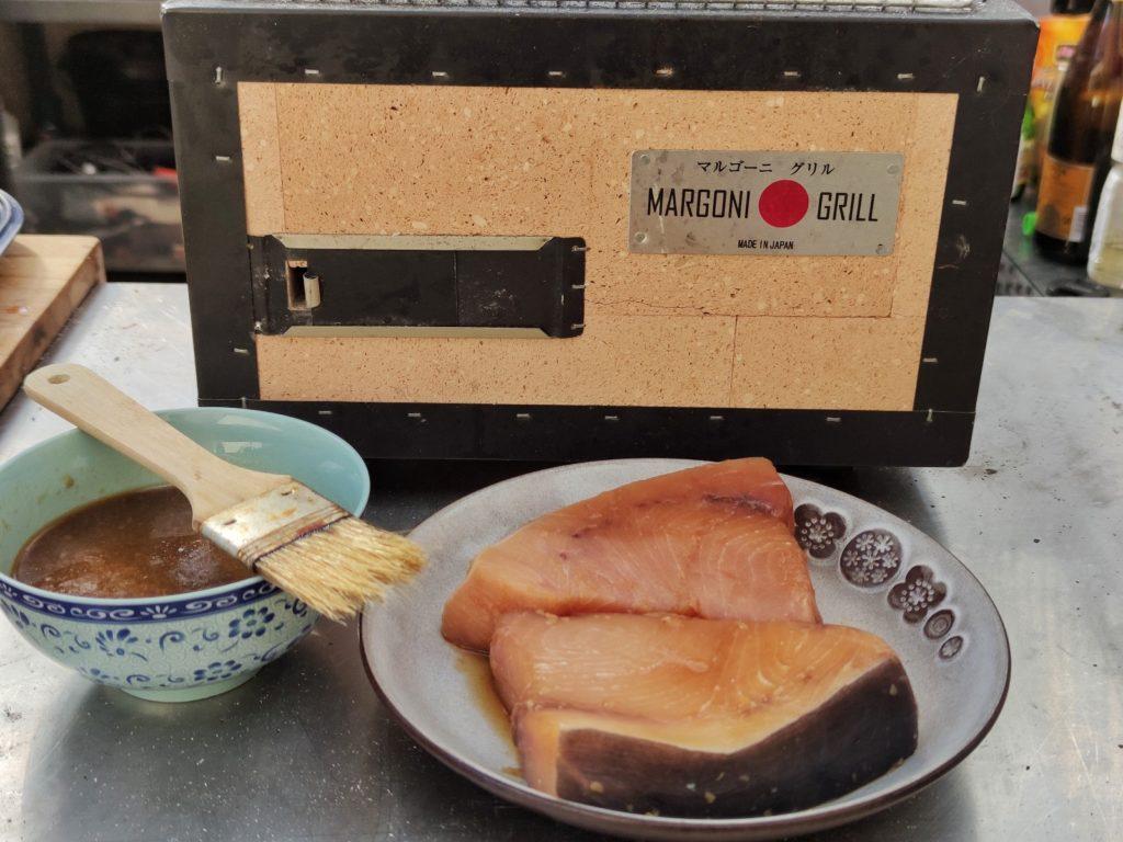 Japanischer Konro Grill und Schwertfisch